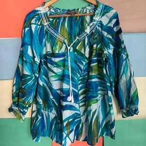Tommy Bahama Peasant Blouse Silk/Cotton size L
